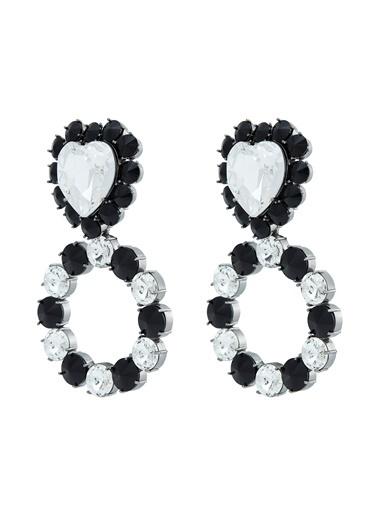 Ninon Ninon Queen of Hearts Black Kristal Küpe Siyah